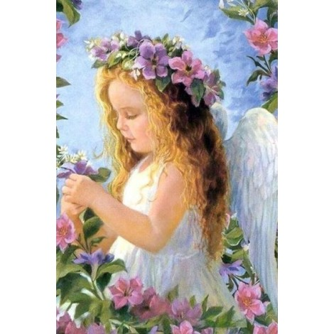 Angel Girl with Flowers Crown
