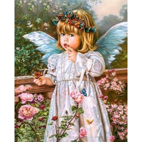 Beautiful Angel Girl with Butterflies Crown