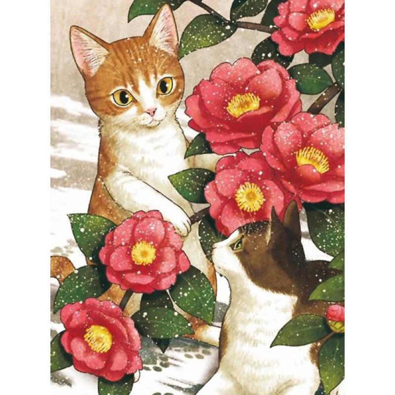 2 Cats and Flowers