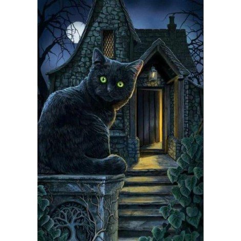 Black Cat with Green Eyes by Lisa Parker