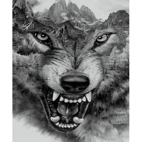 Abstract Wolf Face Diamond Painting