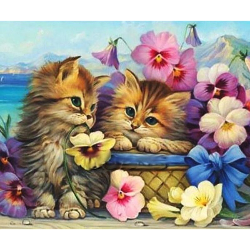 Cats & Colorful Flowe...