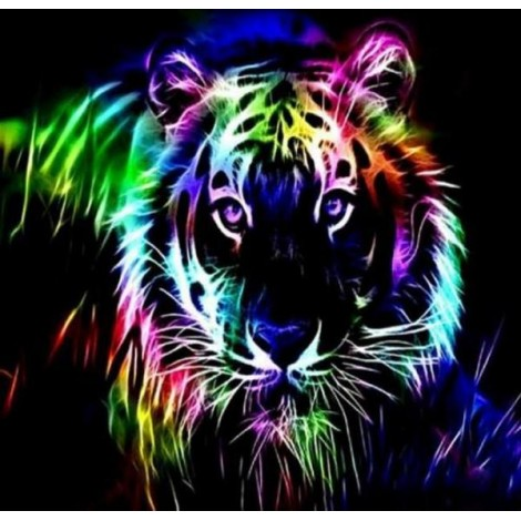 Colorful Neon Tiger - Paint with Diamonds