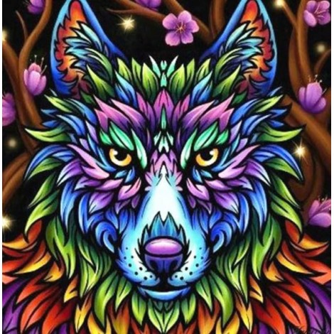 Colorful Wolf - Paint by Diamonds