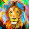 Big Lion with Colorful Hair