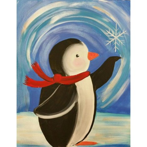 Little Penguin Catching Snow Flake