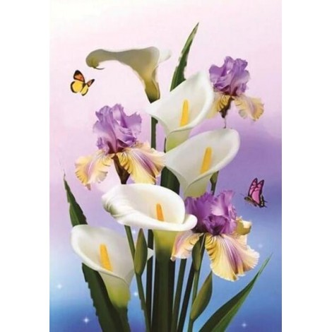 Blooming Lilly Flowers & Butterflies